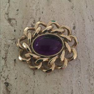 Vintage Purple Lucite Cab Brooch Chain Framed